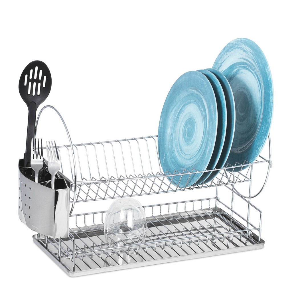 Lexi Home Dish Drying Rack Two Tier Dish Rack With Drainboard And Utensil Holder Compact Stainless Steel 2 Tier Dish Rack Lexi Home Massgenie Com