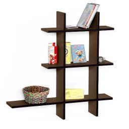 Light Coffee-A Leather Cross Type Shelf / Bookshelf / Floating Shelf (5 pcs)
