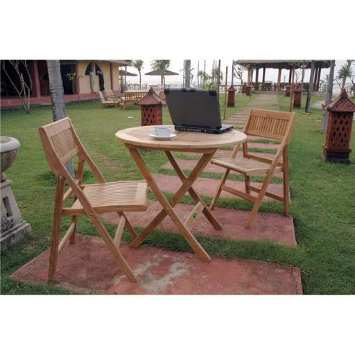 Anderson Teak Set-23 31 in. Windsor Round Picnic Folding Table