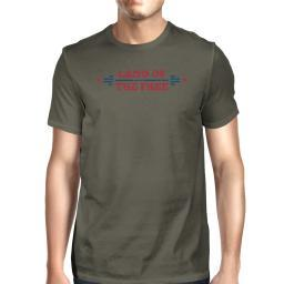 Land Of The Free American Flag Shirt Mens Dark Gray Graphic T-Shirt