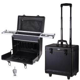 "AW 15x9x14"" 2-wheels Rolling Hair Makeup Train Case PVC Baber Salon Clipper Trimmer Tool Box w/ Appliance Holders"