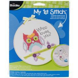 "My 1st Stitch Whoo Loves You Mini Counted Cross Stitch Kit-6"" Round 14 Count 45997"