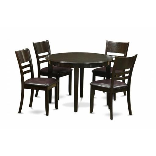 East West Furniture BOLY5-CAP-LC 5 Piece Small Kitchen Table Set-Kitchen Dining Nook and 4 Kitchen Chairs