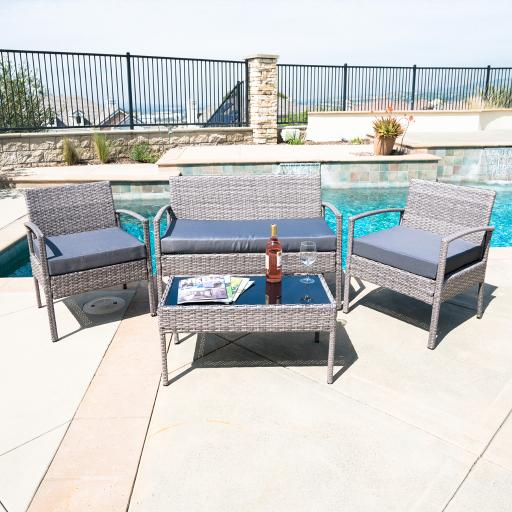 BELLEZE 4PC Rattan Sectional Furniture Set with Seat Cushion Outdoor Garden Wicker PE Wicker Sofa & Table, Gray