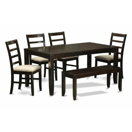 East West Furniture LYPF6-CAP-C 6 Piece Dining Room Table With Bench-Table With Leaf and 4 Dining Chairs Bench
