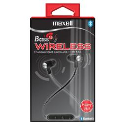 Bass 13 Black Bluetooth Wireless Earbuds, 3 Hours Of Talk/Play Time, Rubberized Earbuds, Volume Control