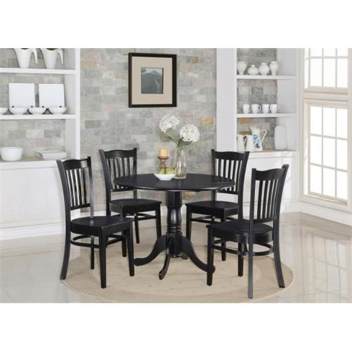 East West Furniture DLGR3-BLK-W 3 Piece Small Kitchen Table and Chairs Set-Round Kitchen Table and 2 Dinette Chairs