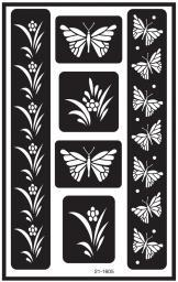 """Over 'N' Over Reusable Stencils 5""""X8"""" Butterfly"""
