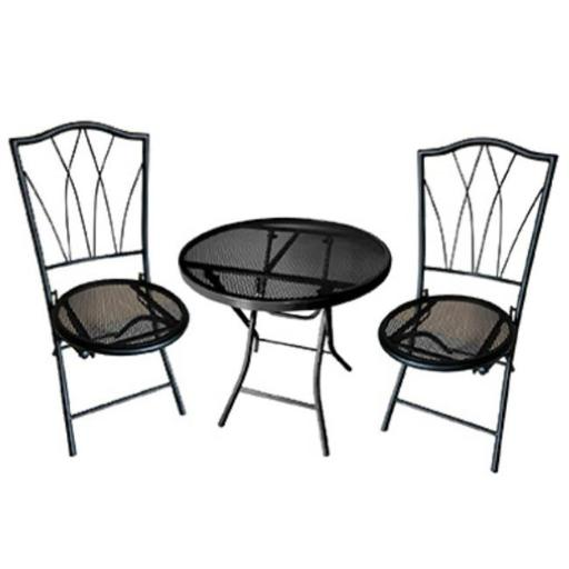 Courtyard Creations 227698 Four Seasons Avalon Bistro Set with Chair & Table, Black - 3 Piece