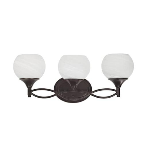 Chloe CH20185RB23-BL3 23 in. Lighting Transitional 3 Light Rubbed Bronze Bath Vanity Wall Fixture White Alabaster Glass - Oil Rubbed Bronze