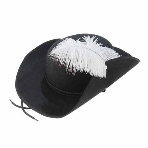 Three Musketeers Hat Feather Cap Pirate Buccaneer Adult Costume 3 Accessory