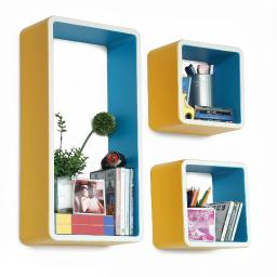 Crayon Rectangle Leather Wall Shelf / Bookshelf / Floating Shelf (Set of 3)