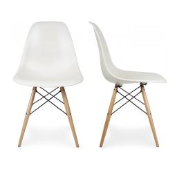 Belleze Set of (2) Classic DSW Molded Plastic Side Chair Dining Chairs Seat Backrest w/ Natural Wooden Legs, White