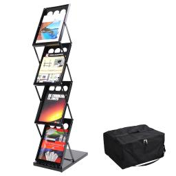 Yescom Portable Pop Up 4 Pocket Magazine Brochure Literature Catelog Holder Rack Stand Tradeshow Display w/ Carrying Bag