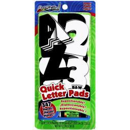 Quick Letter & Number Pads Repositionable 347/Pkg Black & White