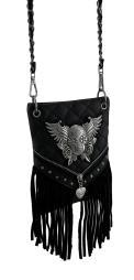 Quilt Stitched Winged Sugar Skull Fringed Crossbody Bag with Removable Strap