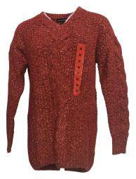 Adrienne Vittadini Women's Sweater Sz M Cable Knit V Neck Red