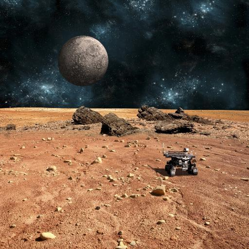 A robotic rover explores the surface of a rocky and barren alien world. A large cratered moon rises over the airless environment. Poster Print