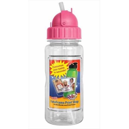 Oodles World 108776 Water Bottle 14 Oz With Straw & Fotoframe Pink
