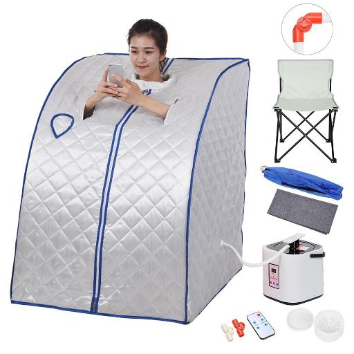 Portable Home Steam Sauna SPA w/ Large Chair Detox Weight Loss Slimming Personal Therapeutic Indoor Silver