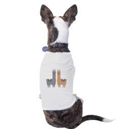 Llama Pattern Cotton Pet Shirt White Funny Holiday Gifts Small Dogs Clothes