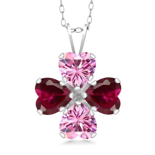 Gem Stone King 925 Sterling Silver Pendant Heart Shape Pink Created  Moissanite and Created Ruby Red 1 60ct (DEW)