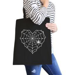Spider Web Halloween Canvas Tote Bag Heavy Cotton Washable Bag Gift