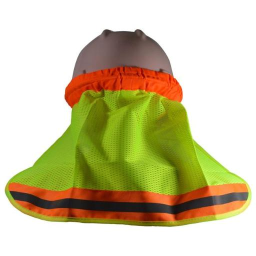 Petra Roc HNS-O High Visibility Neck Sun Shield for Hard Hats, Orange