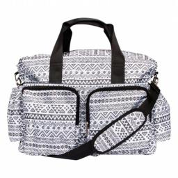 Trend Lab 2 101853 Aztec Deluxe Duffle Diaper Bag, Black and White