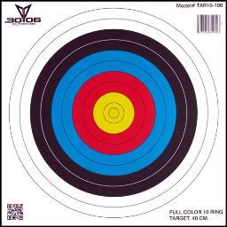30-06 OUTDOORS TAR10100 30-06 OUTDOORS PAPER TARGET ARCHERY 10-RING 17X17 100CT