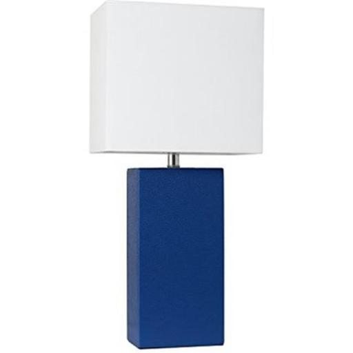 Elegant Designs LT1025-BLU Modern Leather Table Lamp with White Fabric Shade - Blue with White Fabric Shades