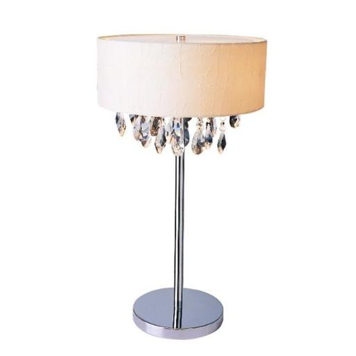 All The Rages LT1023-WHT Elegant Designs Trendy Cascading Crystal and Chrome Table Lamp Drum Shade, White