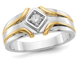 Mens 1/7 Carat (ctw H-I, I2-I3) Diamond Ring in 14K White and Yellow Gold