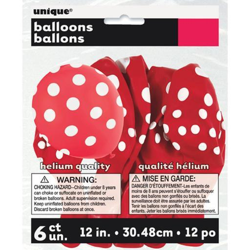 "Printed Balloons Round 12"" 6/Pkg-Ruby Red Decorative Dots 6BWLMMG7YLTUMJNH"