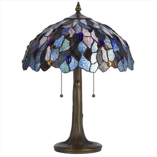 Cal Lighting BO-2387TB 60 W x 2 Tiffany Table Lamp, Zinc Cast Base with Stained Glass Shades, Dark Bronze Finish