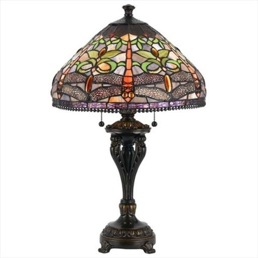 Cal Lighting BO-2355TB 60 W X 2 Tiffany Table Lamp, Antique Bronze Finish With Glass Art