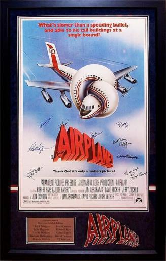 Airplane - Signed Movie Poster in Wood Frame with COA