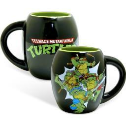 Teenage Mutant Ninja Turtles Group Oval Mug Black TMNT 18 oz Coffee Cup