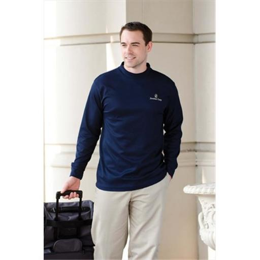Whispering Pines Sportwear 401 Long Sleeve Performance Mock Shirt Turtleneck, Navy, Large