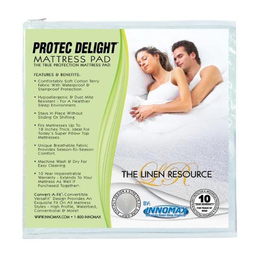 Innomax 5-85-WP-T Protec Delight True Protection Mattress Pad, Twin-Twin Extra Large