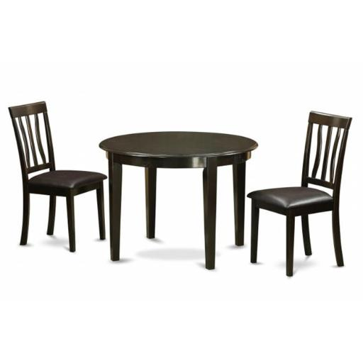 East West Furniture HLAN3-CAP-LC 3 Piece Small Kitchen Table and Chairsset-Dining Table and 2 Dinette Chairs