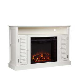 Holly and Martin Savannah Media Electric Fireplace in Antique White