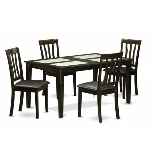 East West Furniture CAAN5G-CAP-LC 5 Piece Formal Dining Room Table Set-Dining Room Glass Top Table and 4 Dining Chair
