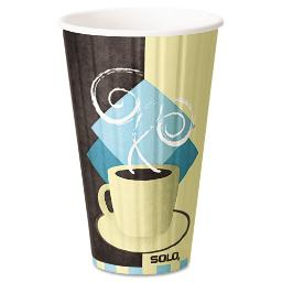 Duo Shield Insulated Paper Hot Cups 16 OZ Tuscan Chocolate/Blue/Beige 525/Ct | 1 Carton of: 525
