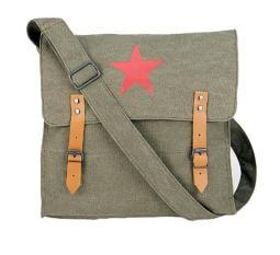 Vintage Canvas Medic Bag Olive Drab with Brown Star