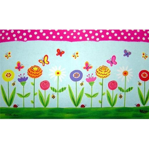 Custom Printed Rugs AWV060 Fun Flowers Garden Party Doormat Rug, Blue - 18 x 30 in.