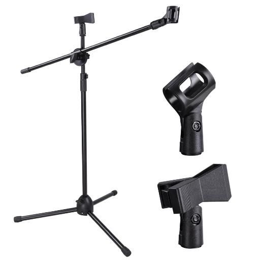 Adjustable Height Microphone Stand Dual Mic Clip 360-degree Rotating Folding Type Boom Arm Tripod