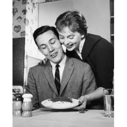 Posterazzi SAL25541145 Young Woman Serving Pasta to a Young Man Poster Print - 18 x 24 in.