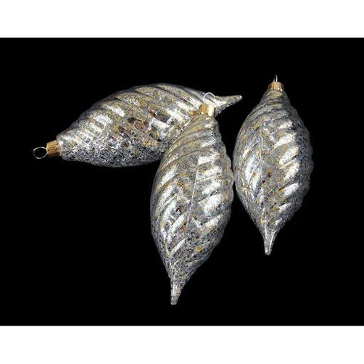 Clear Spiral Finial Shatterproof Christmas Ornaments with Gold Speckles
