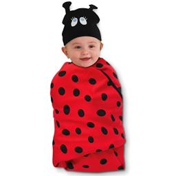 """SOZO Newborn Baby Girls Cotton Swaddle Blanket with Matching Hat (3-6 Months) Gift Set, Red/Black, 40"""" x 40"""", 0-6 Months"""